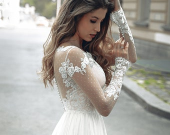 Lace Wedding Dress with Long Sleeves, A-line Lace Wedding Dress, Boho Wedding Dress, Bohemian Lace Wedding Dress, Lace Wedding Gown