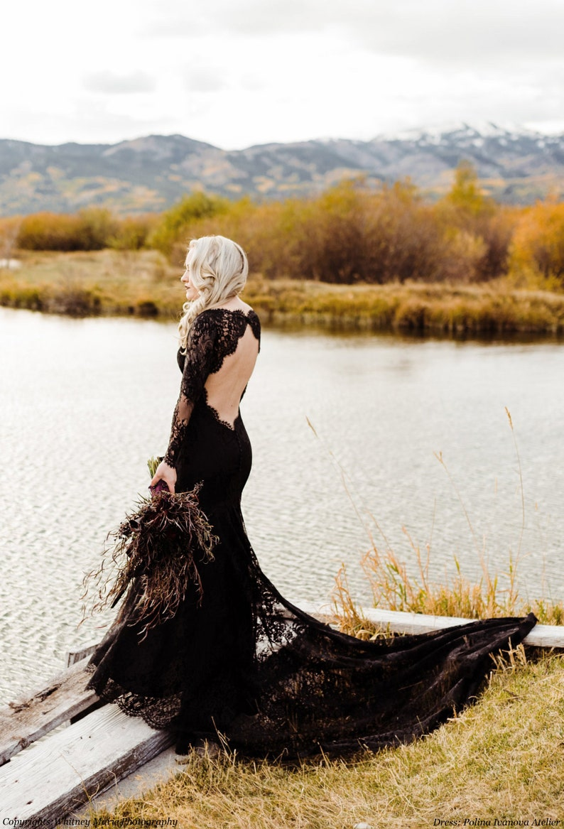 Black Wedding Dress Gothic Wedding Dress Alternative Wedding image 1