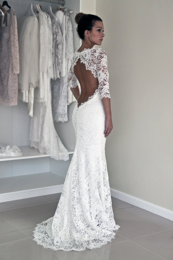 ca54e4ce5e6 Keyhole Back Wedding Dress in Corded French Lace Illusion