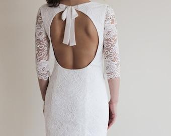 Short Wedding Dress with Open Back, Short Lace Dress, White Lace Dress, French Lace Dress, Reception Dress, Sleeved Wedding Dress