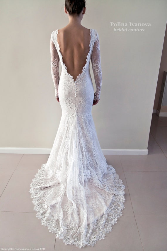 Open Back Lace Wedding Dress Long Sleeved Bridal Gown Wedding Dress With Lace Sleeves Champagne Wedding Dress Sexy Wedding Dress