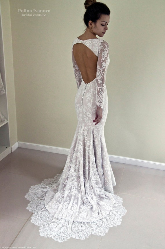 Lace Wedding Dress Open Back Wedding Dress Mermaid Wedding Etsy