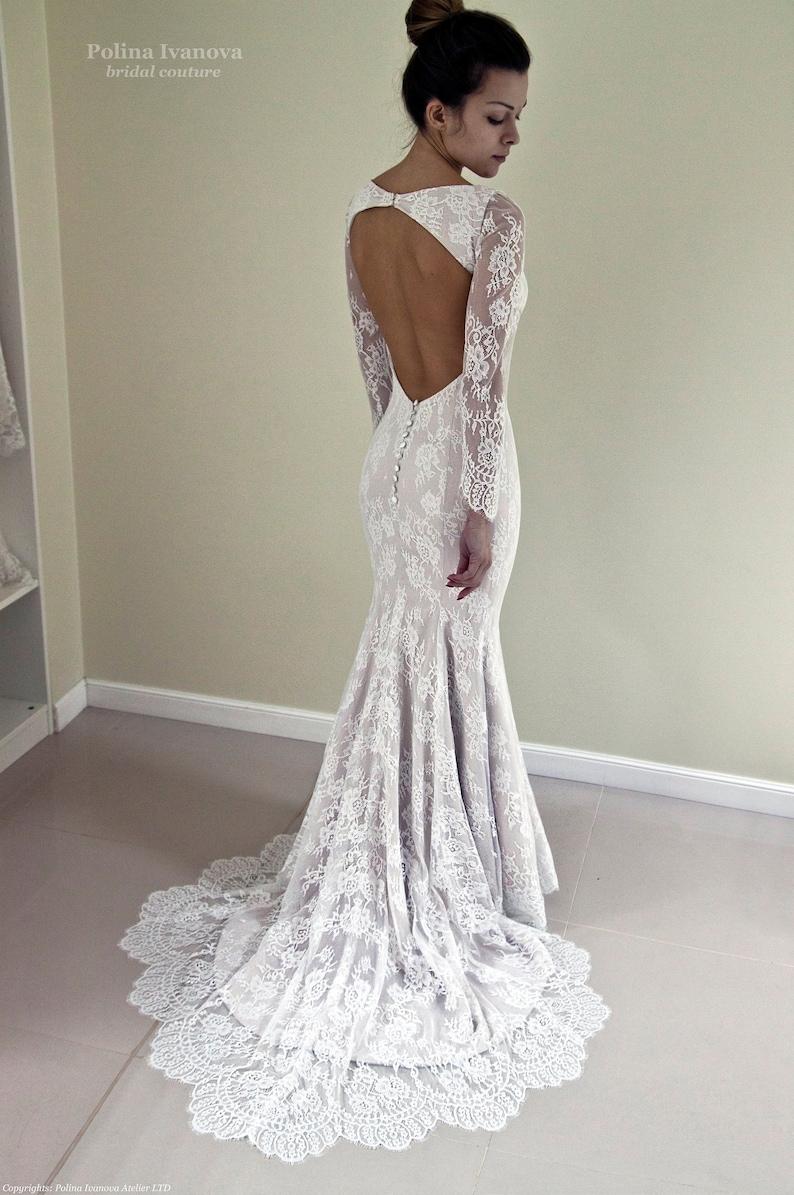 462a13293bdb40 Mermaid Lace Open Back Wedding Dresses