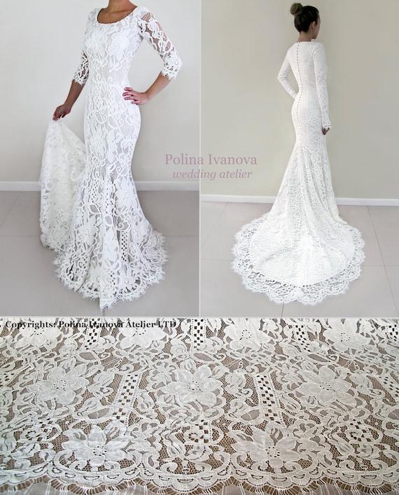 Lace Wedding Dress Boho Wedding Dress Sleeved Wedding Dress Figure Hugging Wedding Dress Bohemian Wedding Dress