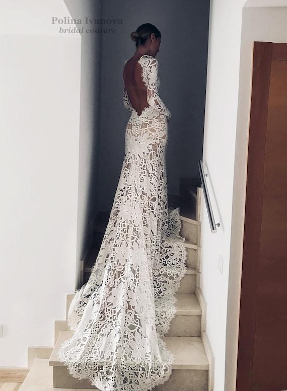 Open Back Wedding Dress Lace Wedding Dress Boho Wedding Dress Wedding Dress With Long Sleeves Long Sleeve Wedding Dress