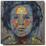 Original Oil Painting on Gallery Wrapped Stretched Canvas of 14 by 14 by 3/4 in./expressionism abstract portrait face female gallery nyc art