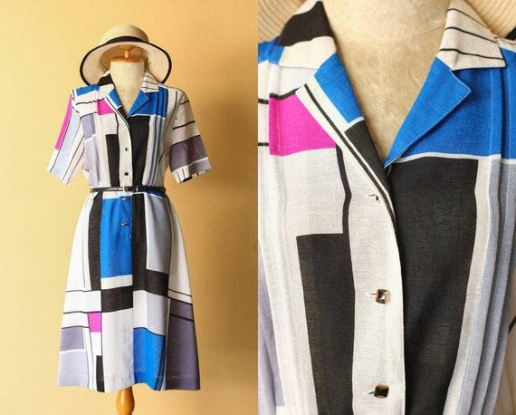 VINTAGE Mondrian inspired printed dress
