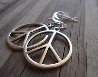 Peace Sign Earrings - Silver Jewelry - Everyday Jewellery - Dangle - Pierced - Symbol - Round