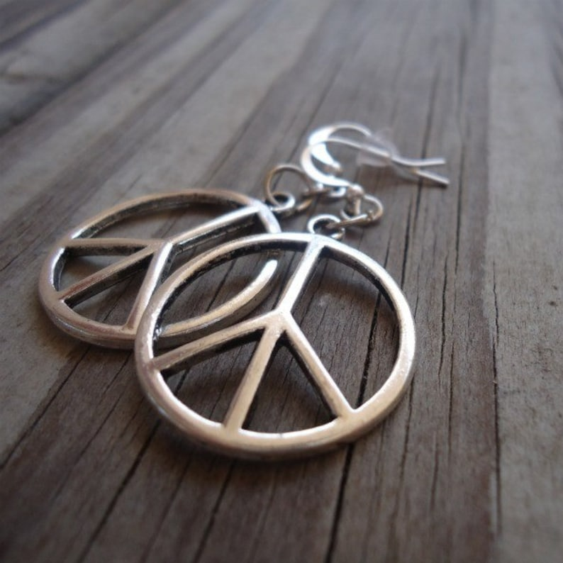 Peace Sign Earrings  Silver Jewelry  Everyday Jewellery  image 0