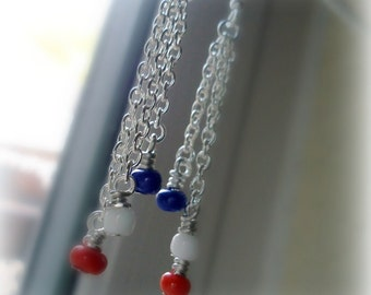 Red White Blue Earrings - Patriotic Jewelry - Chain - Independence Day - USA Jewellery - Gift - Nautical