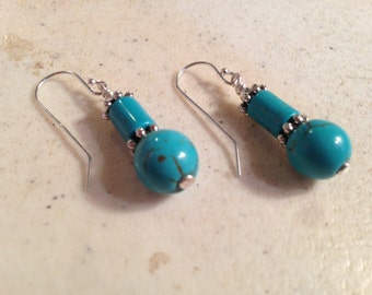 Turquoise Earrings - Gemstone Jewelry - Stering Silver Jewellery - Fashion - Trendy