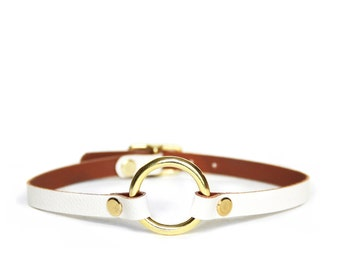 Mini O-Ring Choker -- Arctic White Leather