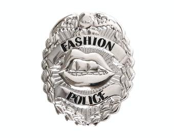Fashion Police Badge -- Silver Mini Badge Pin