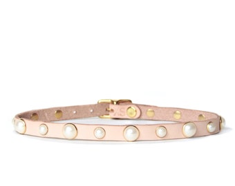 Mini Pearl Studded Choker -- Natural Leather Choker with Pearl Studs
