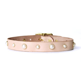 Pearl Studded Choker -- Natural Leather Choker with Pearl Studs
