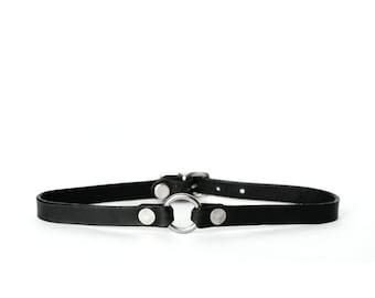 Micro O-Ring Choker -- Black Leather Choker