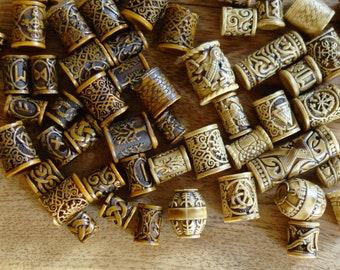 5/25/50 or 100 Viking norse celtic earthy woodland dreadlock european - dread beads jewelry -  beard bead