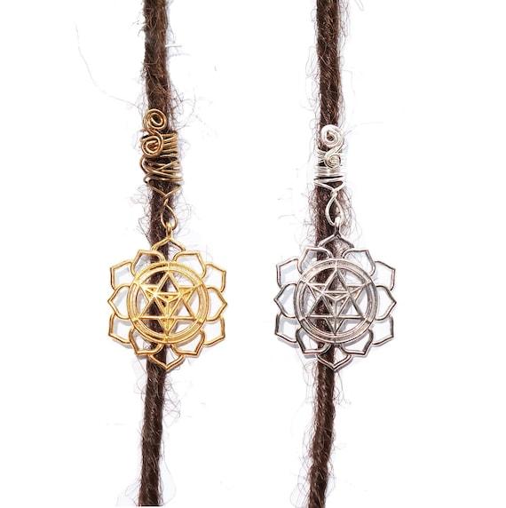 sister locks jewelry Yoga lotus meditation dreadlock bead in silver