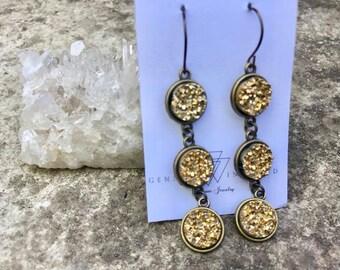 Multi dangle druzy drop earrings