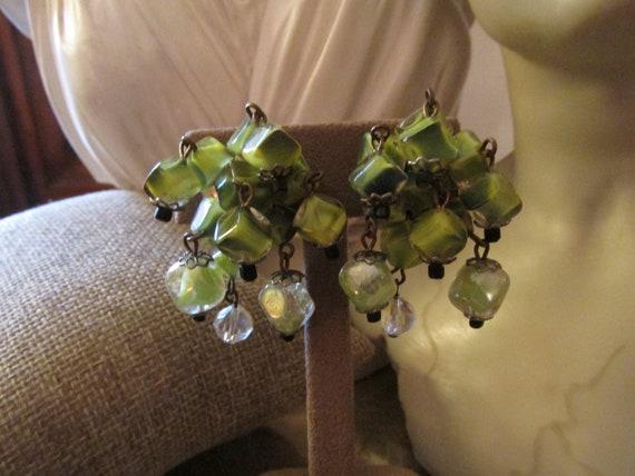HOBE Green Dangle Earrings, Crystal Dangle Earring