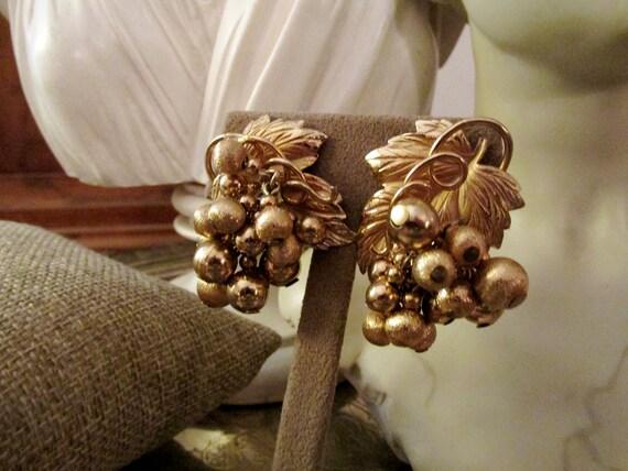 NAPIER Grape Cluster Earrings, Gold Grape Leaf Cli