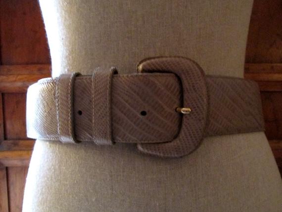 DONNA KARAN Italian Lizard Embossed Leather Belt,