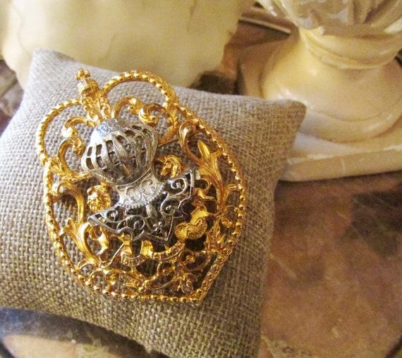 Signed ART Heraldic Shield Brooch, Royal Crest, Co
