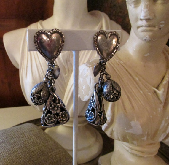 NAPIER Heart Pendant Earrings, 1950's Silver Chate