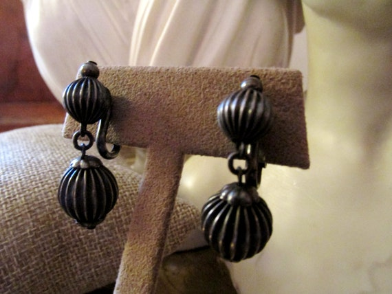 NAPIER Ball Drop Earrings, Vintage Napier Clip On