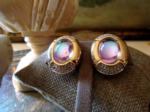 S.AL.O Iridescent Headlight Clip Earrings, Pave Rh