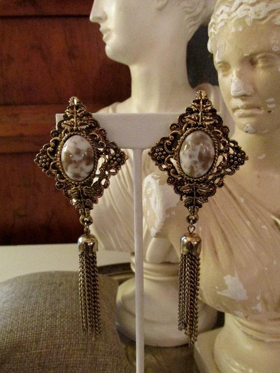 LOIS ANN Tassel Earrings, Long Retro Clip On Earri