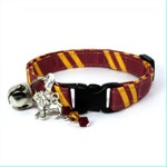 Wizard Breakaway Cat Collar Red / Yellow with Choice of Charms