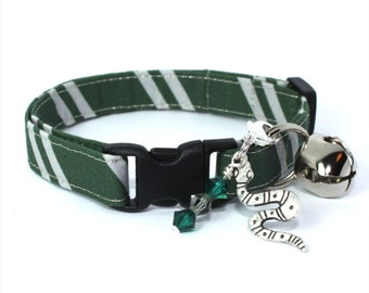 Wizard Breakaway Cat Collar Green / Grey with Choice of Charms
