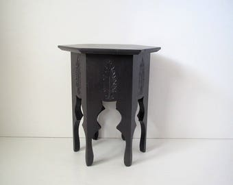 Vintage carved wood table with six sided top/curved legs/boho side table