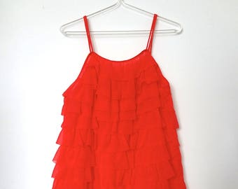 1960s Red Ruffle Baby Doll Nightgown - vintage burlesque lingerie size M