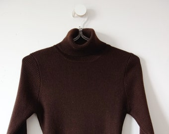 1970s Brown Cashmere Turtleneck Sweater - vintage rib knit pullover