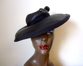 1940s Tilt Hat - wide brim black straw hat with pin - vintage art deco accessory