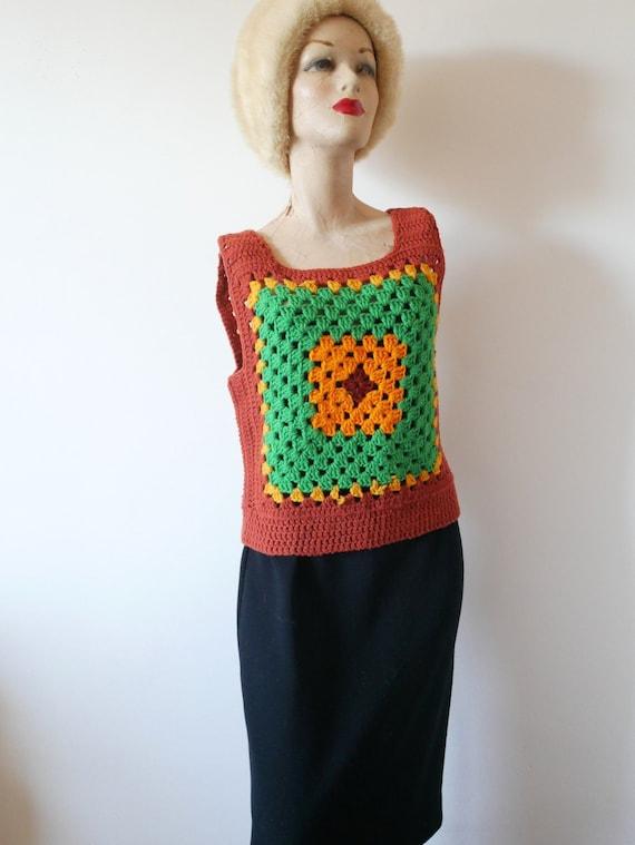 Vintage 1970s Knit Sweater Vest.  Granny Square Af