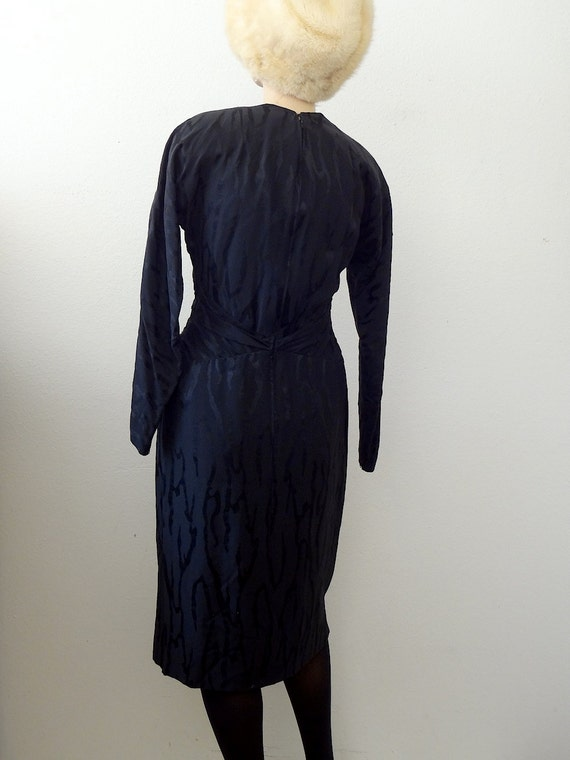 1980s Pauline Trigere Cocktail Dress / black silk… - image 5
