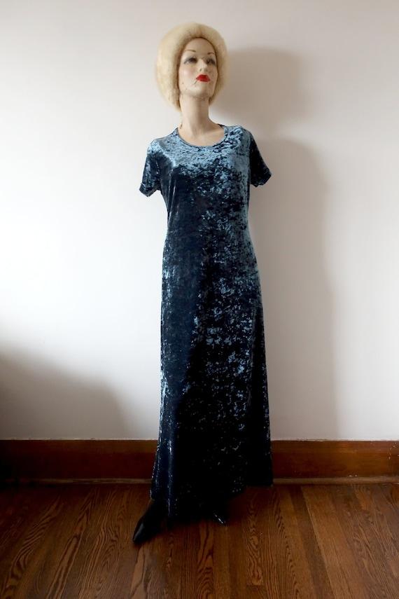 1990s Blue Velvet Maxi Dress - vintage crushed str