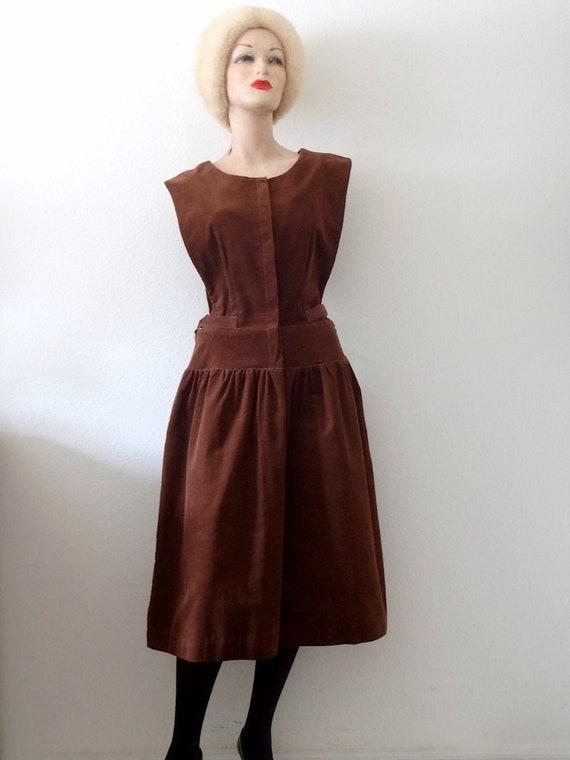 1980s Corduroy Pinafore Shirtwaist Dress - vintage