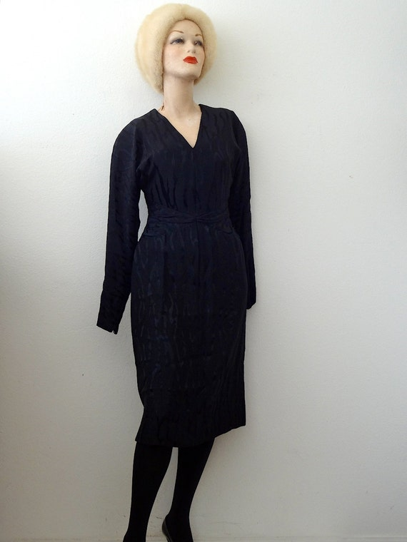 1980s Pauline Trigere Cocktail Dress / black silk