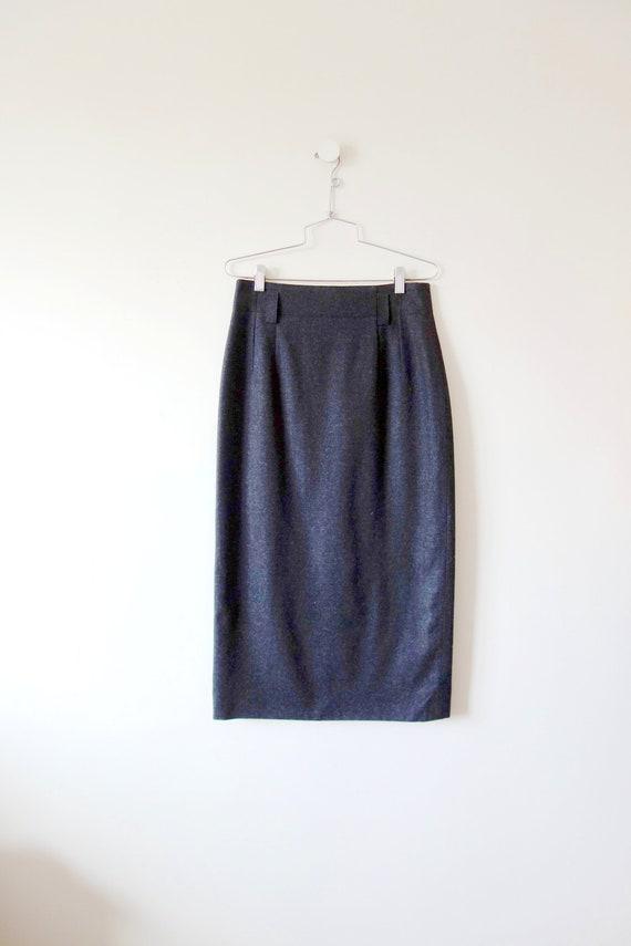 1980s Mondi Grey Wool Skirt - designer vintage mid