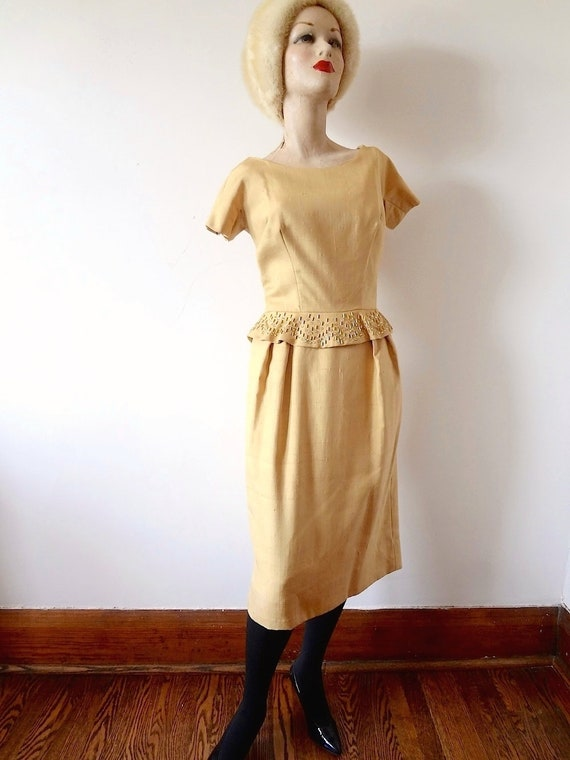 1950s Party Dress, gold cocktail wiggle gown with