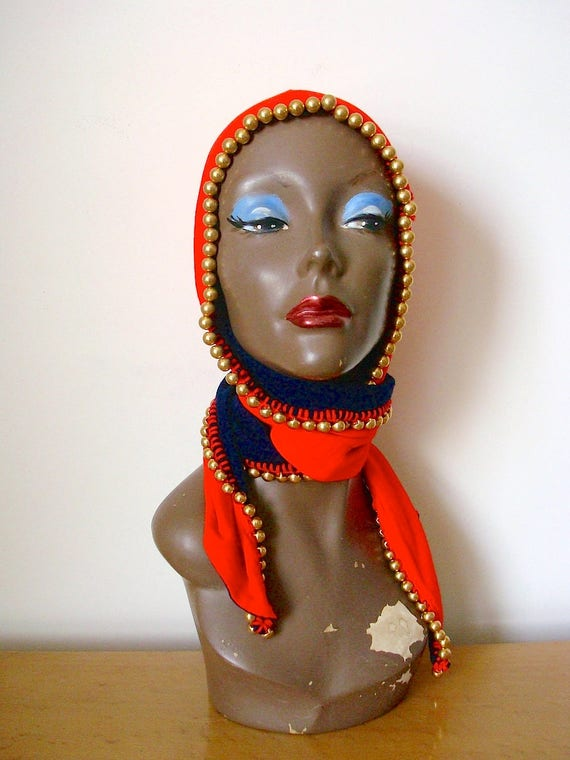 Vintage 1940s Hooded Scarf Hat - beaded wool jerse