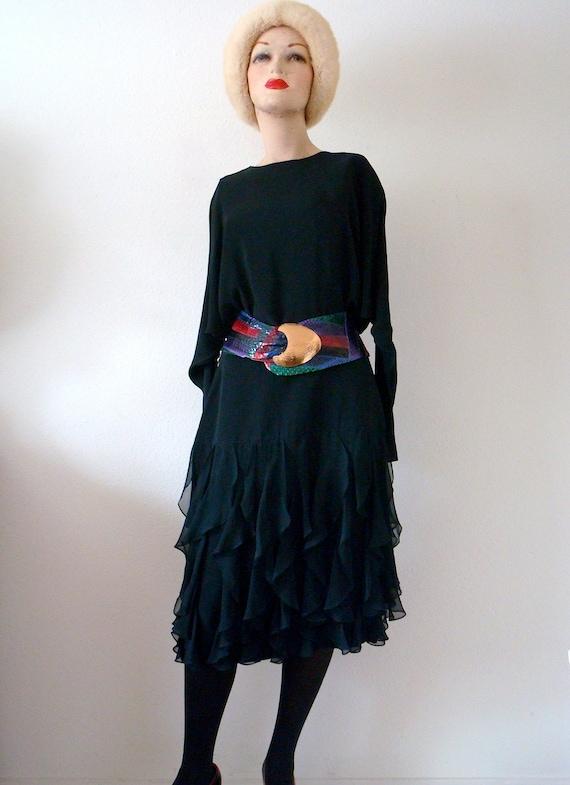 1980s Party Dress / Black Cocktail Dress