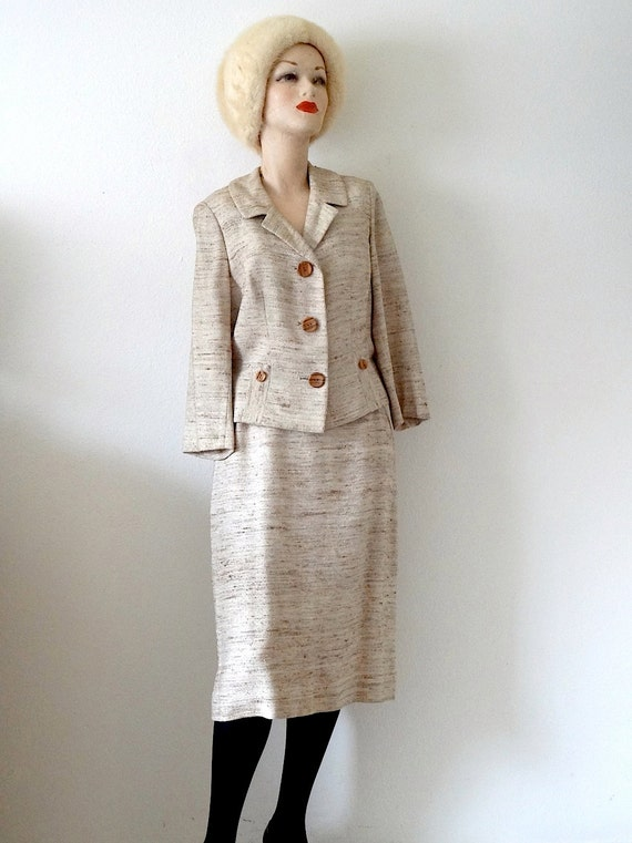 1950s Suit / Pencil Skirt & Jacket / Mid Century V