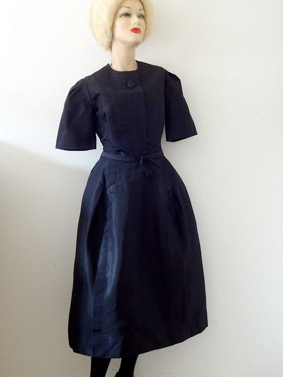 1960s Teal Traina Dress / black silk taffeta cockt