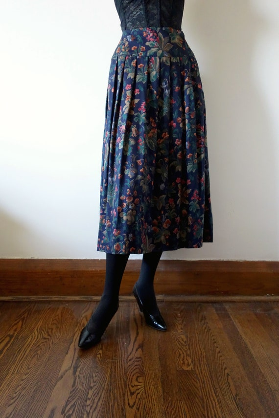 1980s Floral Print Pleated Skirt
