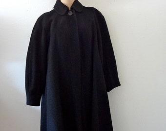 1950s Swing Coat / black alpaca wool dress coat with lantern sleeves / vintage outerwear